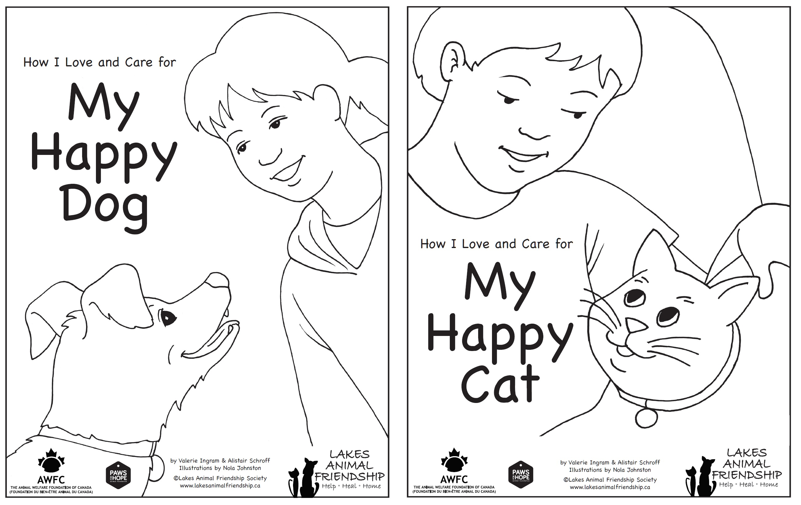 Colouring Book: How I Love and Care for My Happy Dog / Happy Cat (2 in 1)